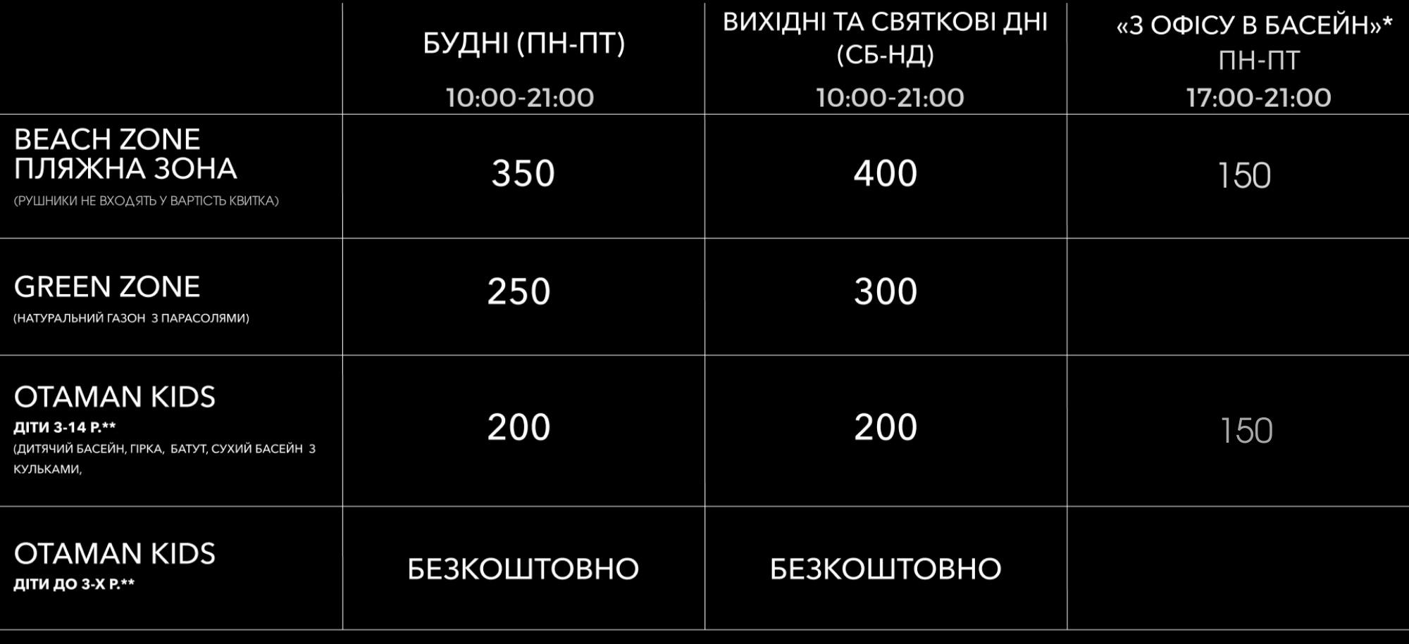 ціни Отаман басейн 2021